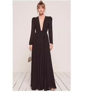 Reformation Thea Wrap Dress Floor Length Maxi